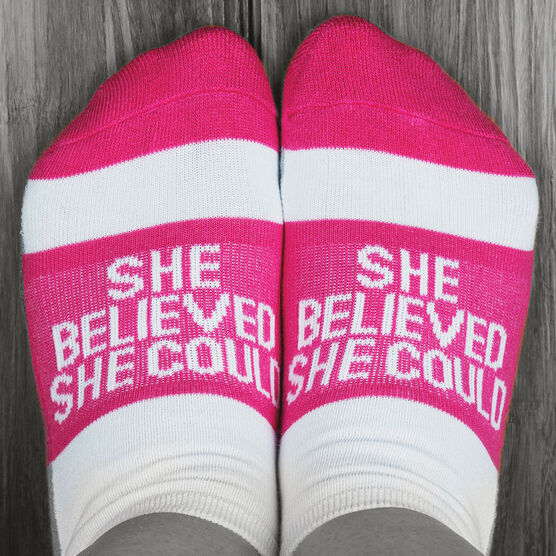 Socrates® Woven Performance Sock She Believed She Could (Fuchsia)