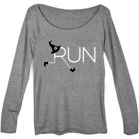 Women's Runner Scoop Neck Long Sleeve Tee - Let's Run For Halloween