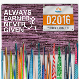 Hooked On Medals Bib & Medal Display Always Earned Never Given (Female)