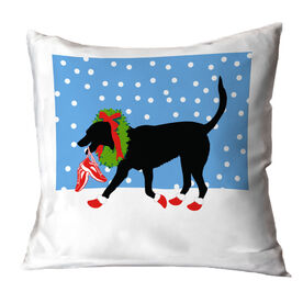 Running Throw Pillow Rex The Running Dog With Christmas