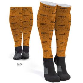Running Printed Knee-High Socks - Run Now Gobble Later Pattern