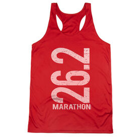 Women's Racerback Performance Tank Top - 26.2 Marathon Vertical