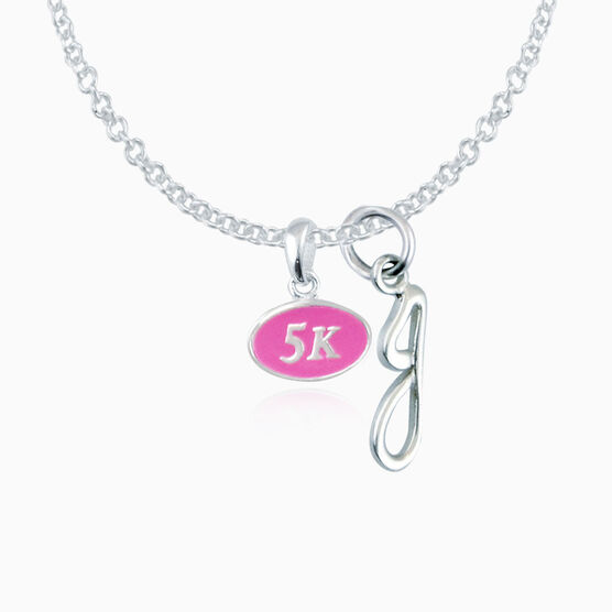 Sterling Silver and Pink Enamel Mini 5K Pendant Necklace