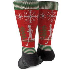 Running Printed Mid-Calf Socks - Christmas Knit (Guy)