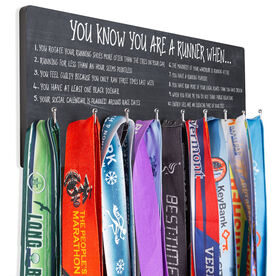Running Hooked on Medals Hanger - Chalkboard You Know You're A Runner When