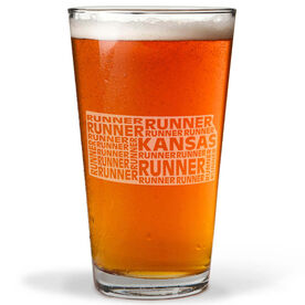 16 oz Beer Pint Glass Kansas State Runner
