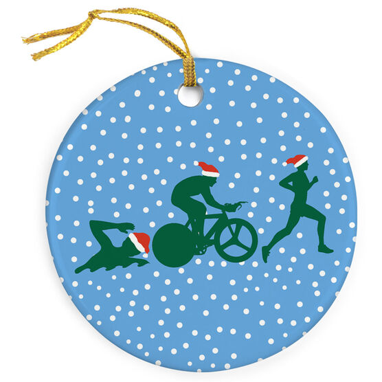 Triathlon Porcelain Ornament Silhouette With Santa Hat