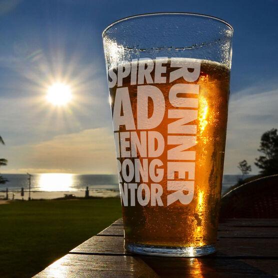 Running 16 oz Beer Pint Glass Dad Runner Word
