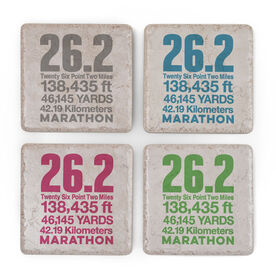 Personalized Stone Coaster Set of Four - 26.2 Math Miles