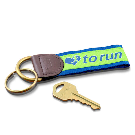 Love to Run Runners Key Fob (Lime Green/Blue)