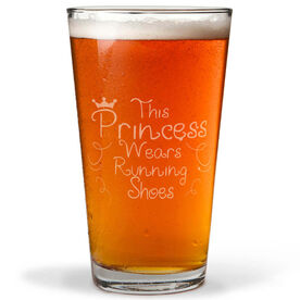 16 oz Beer Pint Glass This Princess Wears Running Shoes (Text)