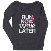 Women's Runner Scoop Neck Long Sleeve Tee Run Now Wine Later (Bold)