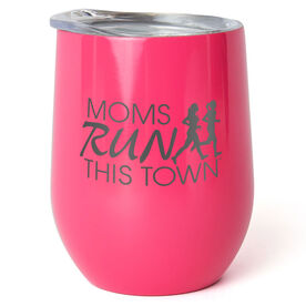 Running Stainless Steel Wine Tumbler - Moms Run This Town Logo