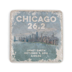 Running Stone Coaster - Personalized Chicago Sketch