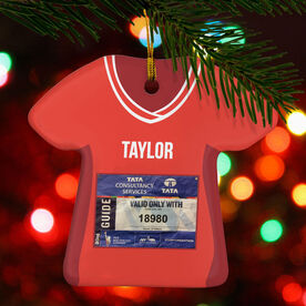 Running Porcelain Ornament - Your Race Bib On A Shirt