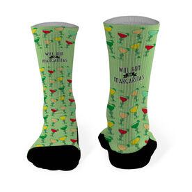 Running Printed Mid Calf Socks Will Run For Margaritas (Deco)