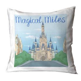 Running Throw Pillow - Magical Miles Sketch