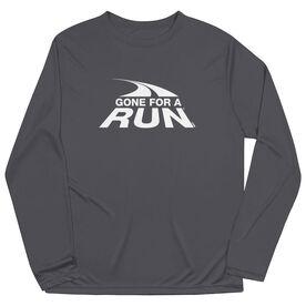 Men's Running Long Sleeve Performance Tee - Gone For a Run White Logo