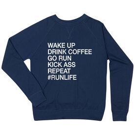 Running Raglan Crew Neck Sweatshirt - Wake Up Drink Coffee Go Run #runlife