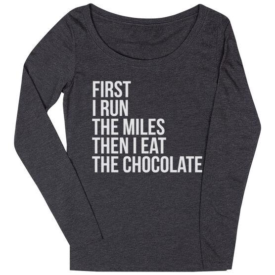 Women's Runner Scoop Neck Long Sleeve Tee - Then I Eat The Chocolate