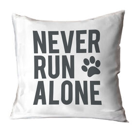 Running Throw Pillow - Never Run Alone (Bold)
