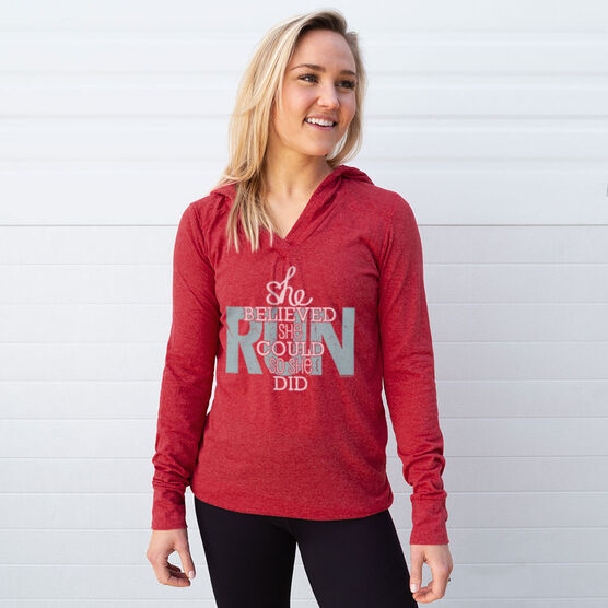 Women's Running Lightweight Performance Hoodie She Believed She Could So She Did