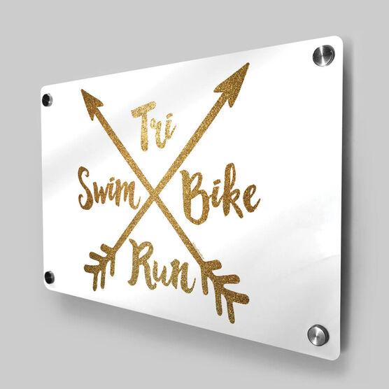 Triathlon Metal Wall Art Panel - Crossed Arrows