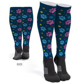 Printed Knee-High Socks - Paw Prints