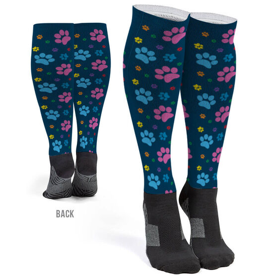 Printed Knee-High Socks - Paw Prints