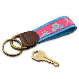 Swim Bike Run Triathletes Key Fob (Pink/Light Blue)