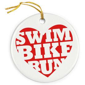 Triathlon Porcelain Ornament Swim Bike Run Heart