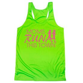 Women's Racerback Performance Tank Top - Moms Run This Town Logo (Pink)