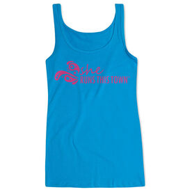 Women's Athletic Tank Top - She Runs This Town Logo (Pink)
