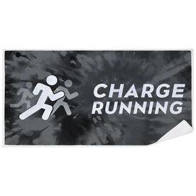 Premium Beach Towel - Charge Running Logo Black Tie-Dye
