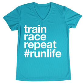 Women's Running Short Sleeve Tech Tee - Train Race Repeat