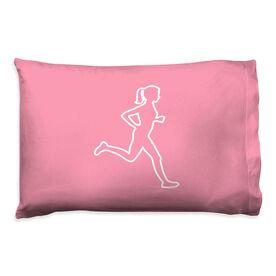 Running Pillow Case - Female Runner Outline