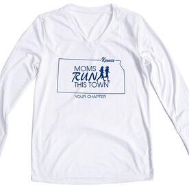 Women's Running Long Sleeve Tech Tee - Moms Run This Town Kansas Runner