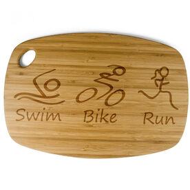 Rectangle Laser Engraved Bamboo Cutting Board Swim Bike Run (Figures)