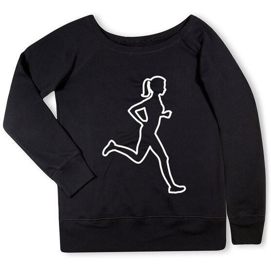 Running Fleece Wide Neck Sweatshirt - Female Runner Outline