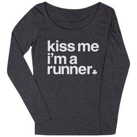 Women's Runner Scoop Neck Long Sleeve Tee - Kiss Me I am a Runner Saying