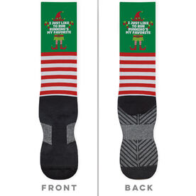 Running Printed Mid-Calf Socks - Running's My Favorite