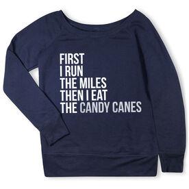 Running Fleece Wide Neck Sweatshirt - Then I Eat The Candy Canes