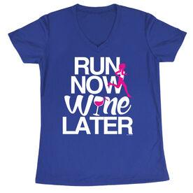 Women's Running Short Sleeve Tech Tee Run Now Wine Later (Bold)