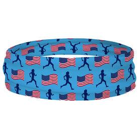 Running Multifunctional Headwear - Female Runner and USA Flag Pattern RokBAND