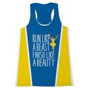 Women's Performance Tank Top - Run Like a Beast Finish Like a Beauty (Bold)