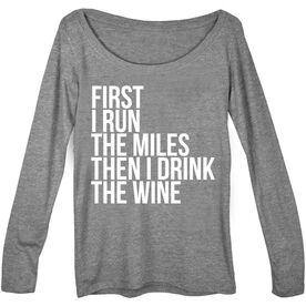 Women's Runner Scoop Neck Long Sleeve Tee - Then I Drink The Wine