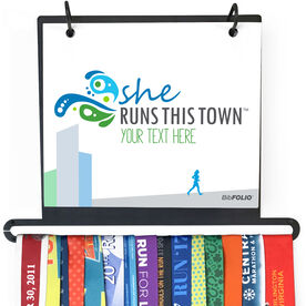BibFOLIO+™ Race Bib and Medal Display - She Runs This Town Logo Cityscape