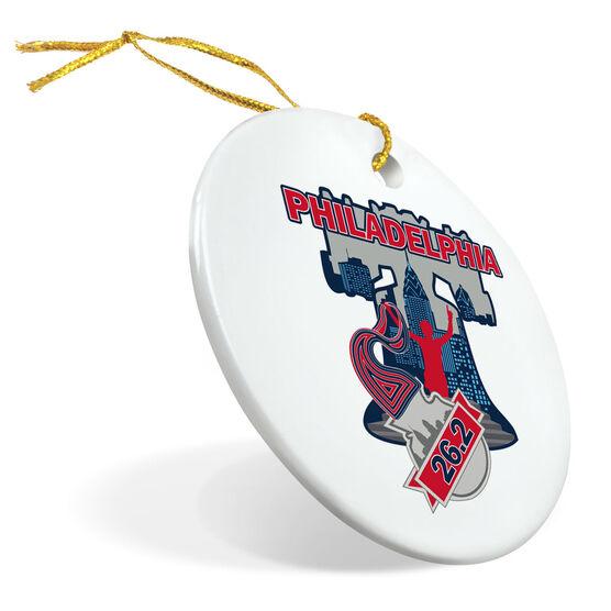 Running Porcelain Ornament Philadelphia 26.2 Liberty Bell