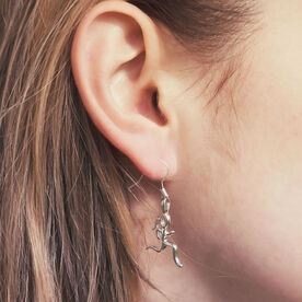 Sterling Silver Running Stick Figure Earrings