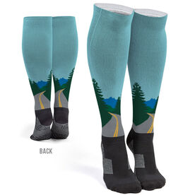 Running Printed Knee-High Socks - The Road